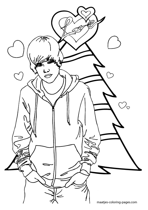 justin time coloring pages - justin bieber christmas coloring page
