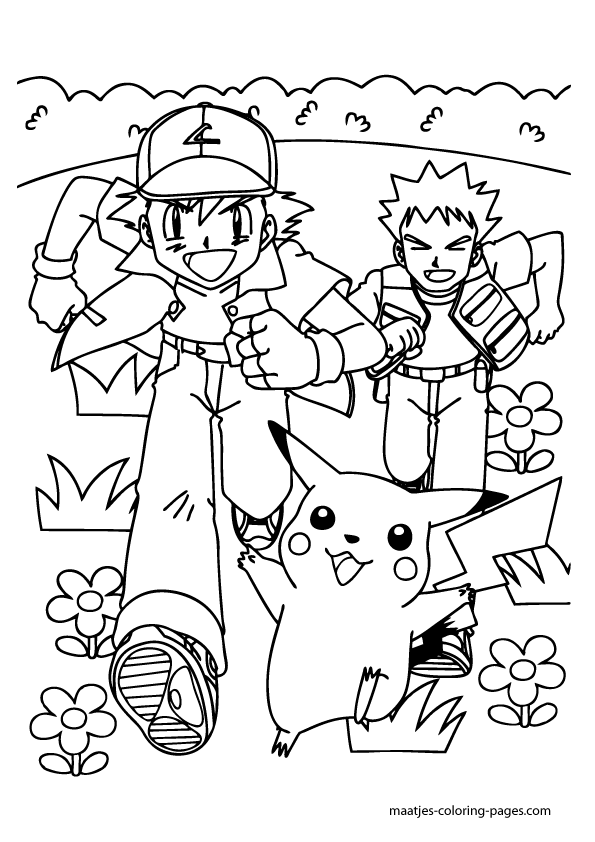 Ash Ketchum, Brock and Pikachu