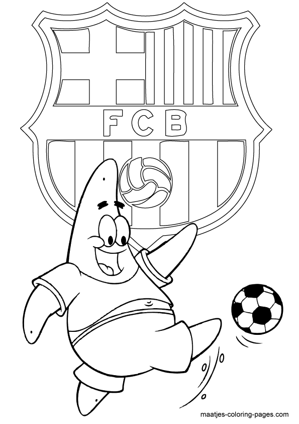 FC Barcelona and Patrick Star coloring pages