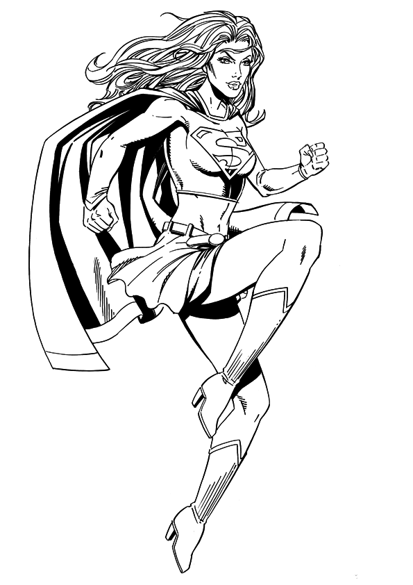 super woman free colouring pages