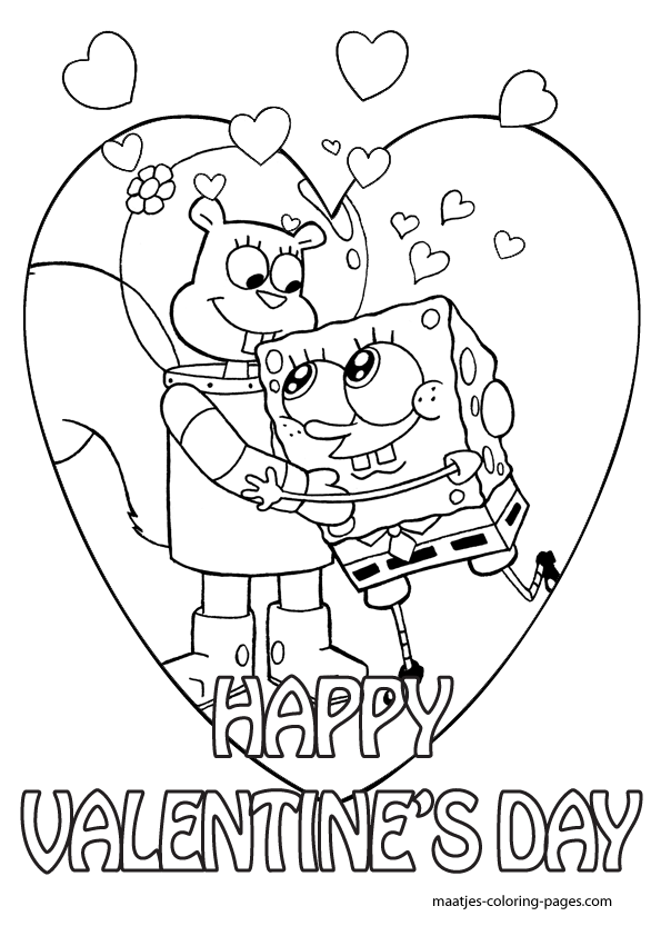 spongebob valentine day coloring pages - photo#1