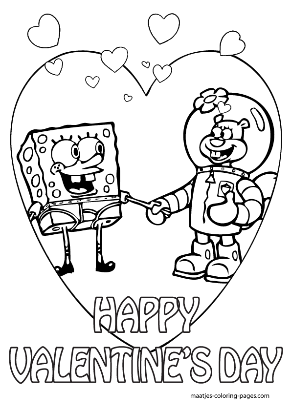 spongebob valentine day coloring pages - photo#4