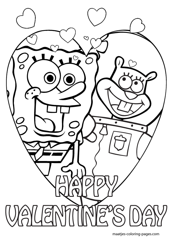spongebob valentine day coloring pages - photo#7