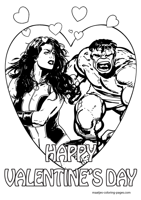 The Incredible Hulk Valentines Day Coloring Pages