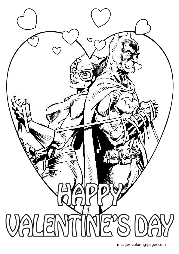 Batman Valentines Day coloring