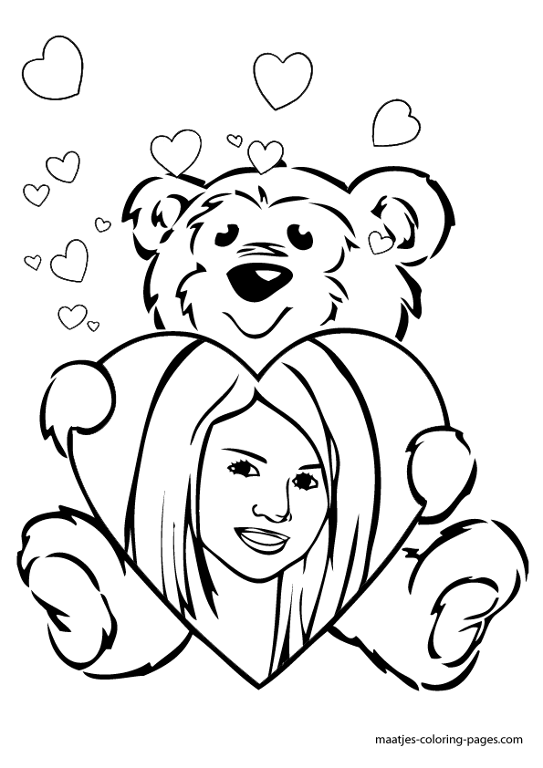 Selena gomez valentines day coloring pag for Selena gomez coloring page