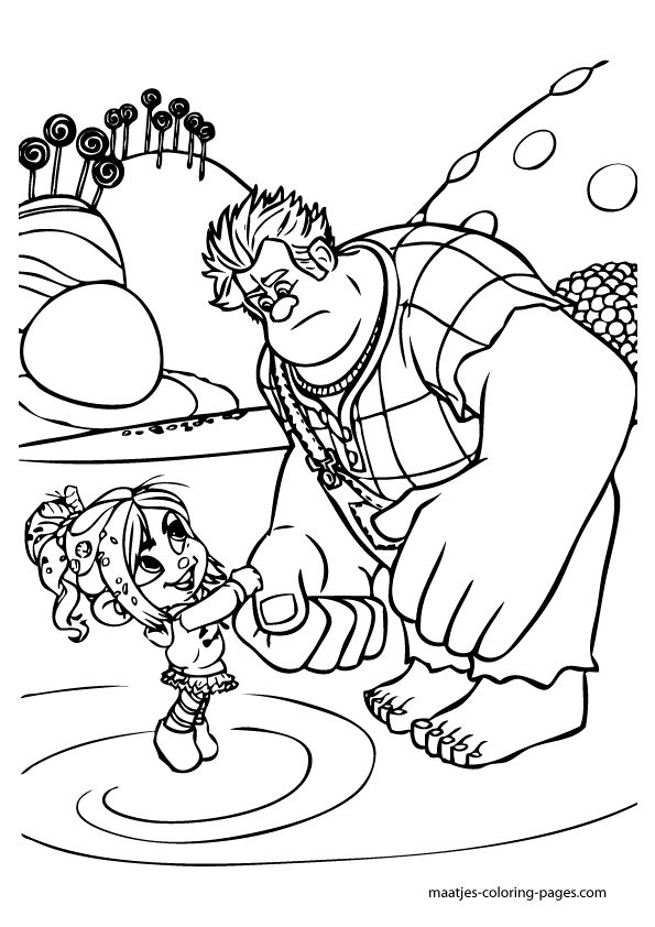 Wreck It Ralph shaking hands with Tafyta coloring pages