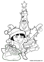 Patrick Star as christmas tree and Dora the Explorer as Santa Claus with presents