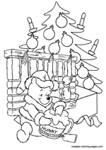 Winnie the Pooh under the christmas tree opening his christmas presents
