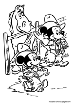 Mickey Mouse and Minnie as cowboys