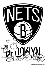Brooklyn Nets Angry Birds coloring pages