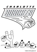 Charlotte Bobcats Angry Birds coloring pages