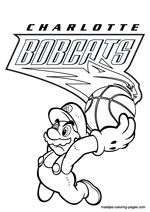Charlotte Bobcats Super Mario coloring pages