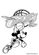 Cleveland Cavaliers Mickey Mouse coloring pages