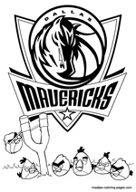 Dallas Mavericks Angry Birds coloring pages