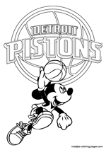 Detroit Pistons Mickey Mouse coloring pages