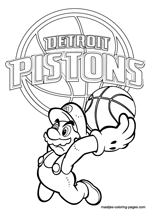 Detroit Pistons Super Mario coloring pages