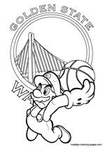 Golden State Warriors Super Mario coloring pages