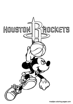 Houston Rockets Mickey Mouse coloring pages