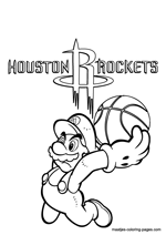 Houston Rockets Super Mario coloring pages