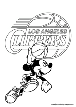 Los Angeles Clippers Mickey Mouse coloring pages