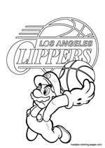 Los Angeles Clippers Super Mario coloring pages