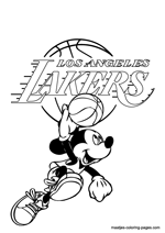 Los Angeles Lakers Mickey Mouse coloring pages