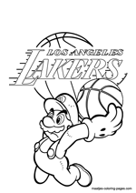 Los Angeles Lakers Super Mario coloring pages