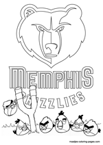Memphis Grizzlies Angry Birds coloring pages