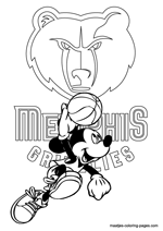 Memphis Grizzlies Mickey Mouse coloring pages