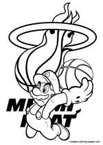 Miami Heat Super Mario coloring pages