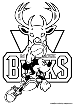 Milwaukee Bucks Mickey Mouse coloring pages