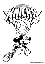 New York Knicks Mickey Mouse coloring pages