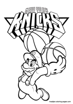 New York Knicks Super Mario coloring pages