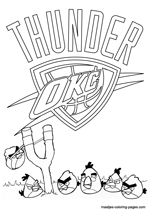 Oklahoma City Thunder Angry Birds coloring pages