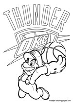 Oklahoma City Thunder Super Mario coloring pages