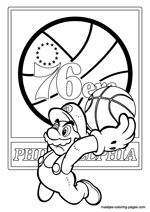 Philadelphia 76ers Super Mario coloring pages