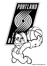 Portland Trail Blazers Super Mario coloring pages