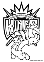 Sacramento Kings Super Mario coloring pages