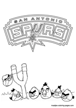 San Antonio Spurs Angry Birds coloring pages