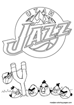 Utah Jazz Angry Birds coloring pages