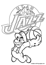 Utah Jazz Super Mario coloring pages