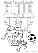 FC Barcelona and Spongebob coloring pages