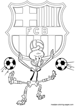 FC Barcelona and Squidward coloring pages