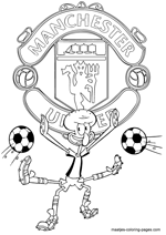 Manchester United and Squidward coloring pages