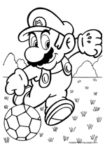 Super Mario playing soccer