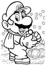 Super Mario throws snowballs